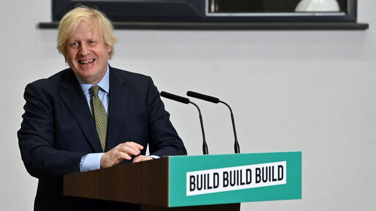 """Britain's Prime Minister Boris Johnson reacts as he takes questions after delivering a speech during his visit to Dudley College of Technology in Dudley, central England on June 30, 2020. - Johnson said Britain needed the type of massive economic response that US president Franklin D. Roosevelt mobilised to deal with the Great Depression. He has earmarked £1 billion ($1.2 billion) for school repairs and a further £4 billion for """"shovel-ready"""" projects that cover everything for road maintenance to public transport. (Photo by Paul ELLIS / POOL / AFP) (Photo by PAUL ELLIS/POOL/AFP via Getty Images)"""