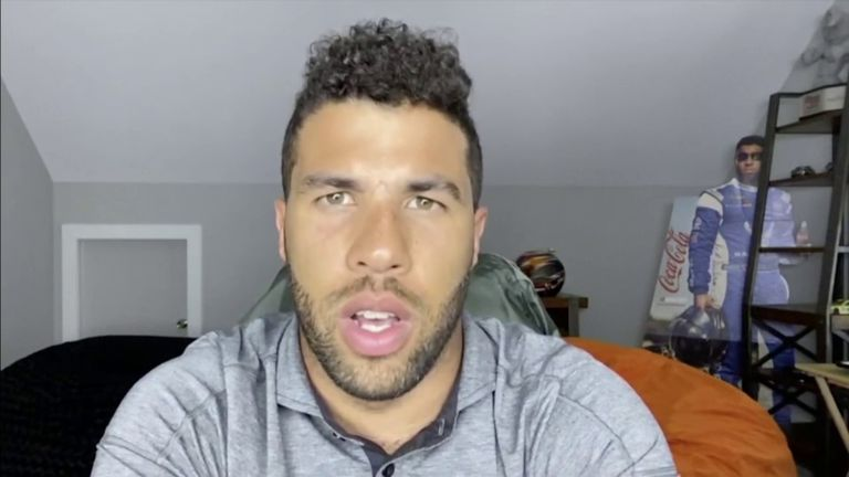 NASCAR's only current African-American driver, Bubba Wallace, says the confederate flag is a 'symbol of hate' and has backed the decision to ban it from all events