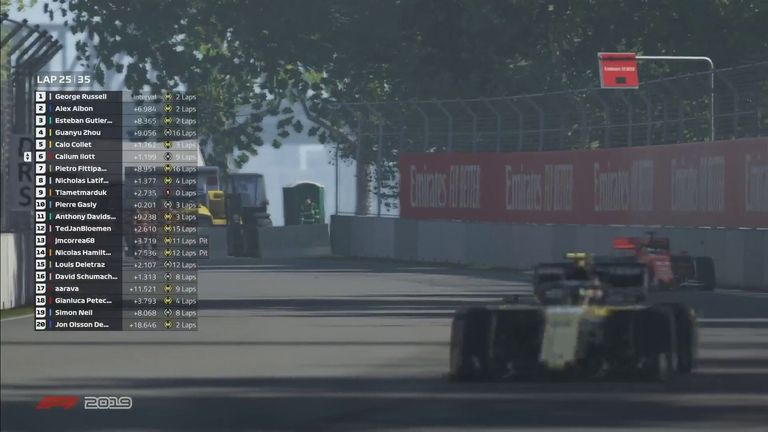 Having gained a sizeable lead over his competitors in the virtual Canadian GP, Williams' George Russell asks whether he should slow down to give the fans a show in the final laps!