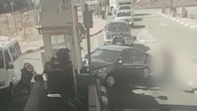 The video shows Ahmad Erakat crashing into the checkpoint and then being shot