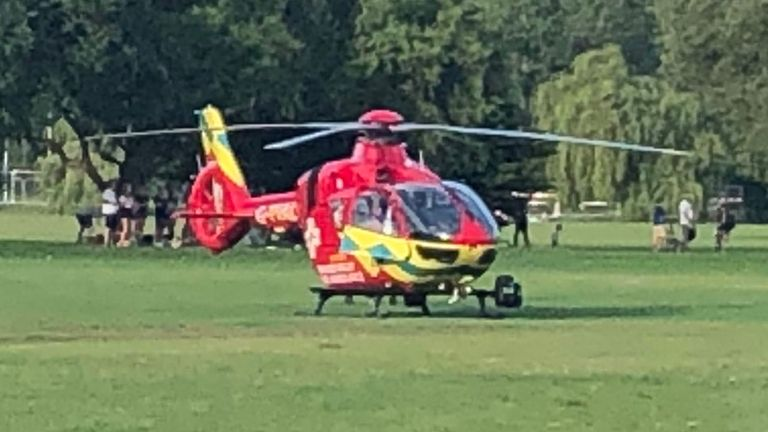 Air ambulance at scene. Pic: Cogp79