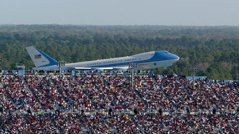 The US president's Air Force One jet sports a modest Stars and Stripes on its rudder