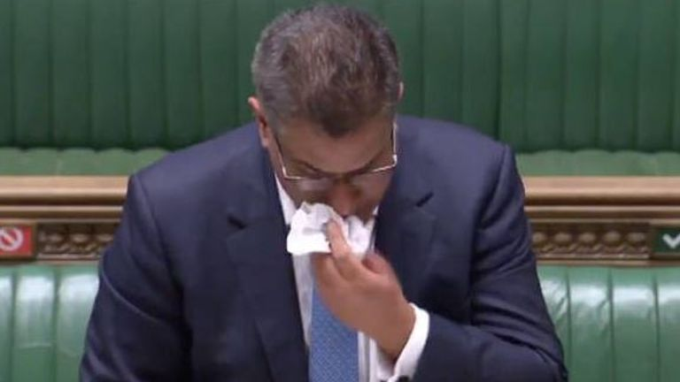 Alok Sharma was visibly ill during a speech in the Commons (Pic: UK Parliament)
