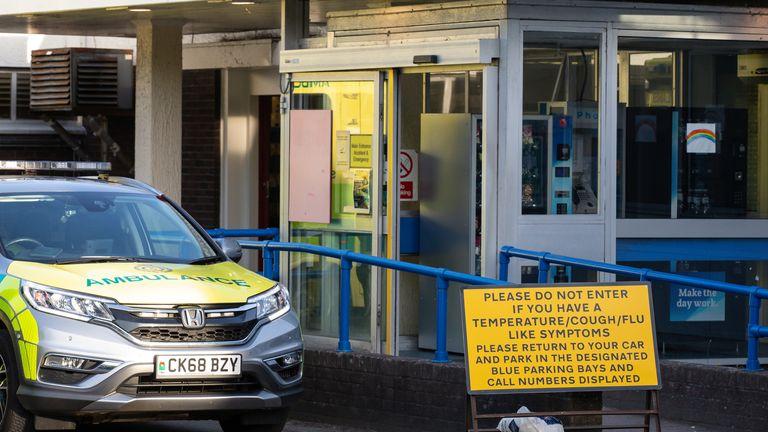 An ambulance outside a hospital in Abergavenny, Wales
