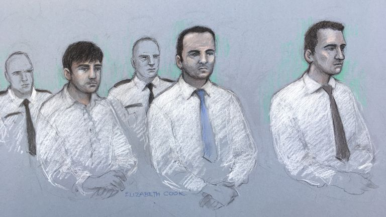 (L to R) Henry Long, 19, Albert Bowers and Jessie Cole, both 18, have denied murdering PC Andrew Harper