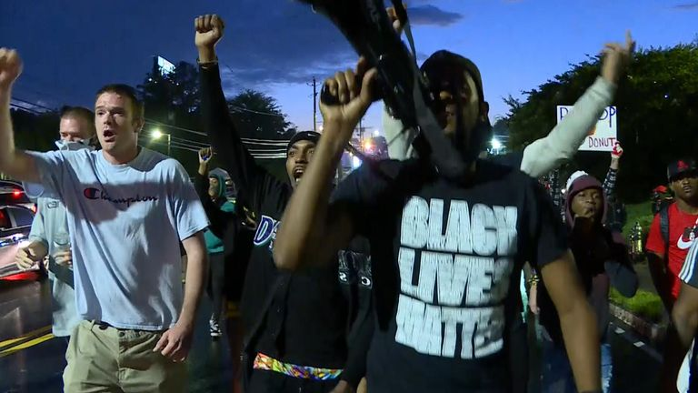 Protesters marched to the station where Officer Brosnan was based