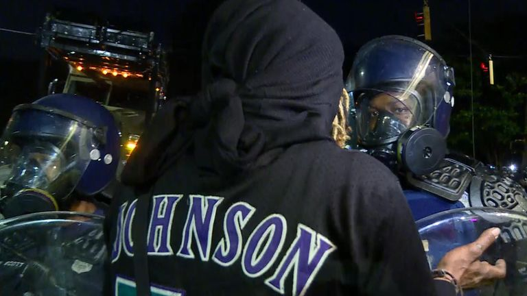 Officers in riot gear prevented demonstrators getting near the police station