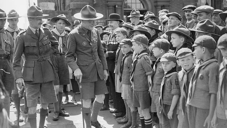 Baden-Powell (centre) is seen inspecting a young Guard of Honour at Southampton in 1935