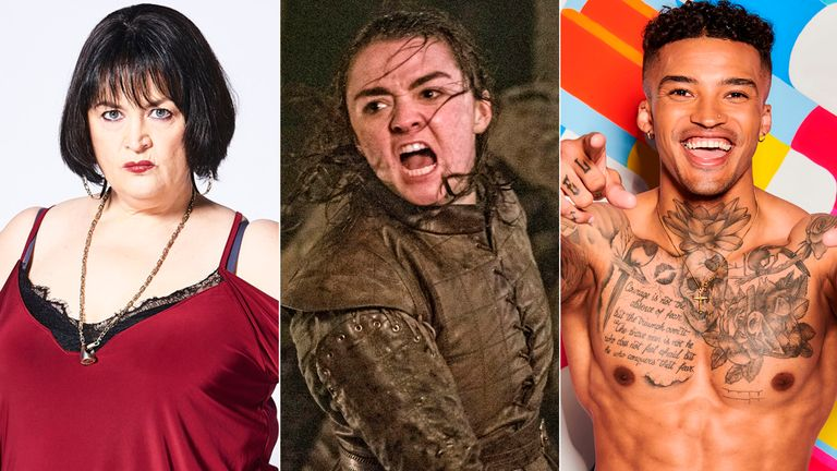 Scenes from Gavin and Stacey, Game Of Thrones and Love Island are up for BAFTA's must-see TV moment. Pic: BBC/ Sky/ ITV