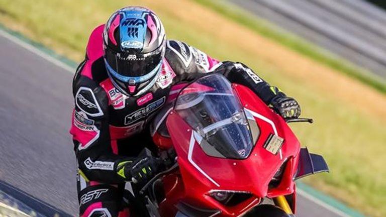 Ben Godfrey riding a Ducati at the Snetterton circuit