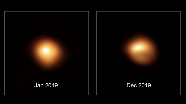 Light and dark: These high-resolution images of Betelgeuse show the distribution of brightness in visible light on its surface before and during its darkening. Due to the asymmetry, the authors conclude that there are huge stars pots. The images were taken by the SPHERE camera of the European Southern Observatory (ESO). Credit: ESO / M. Montargès et al.