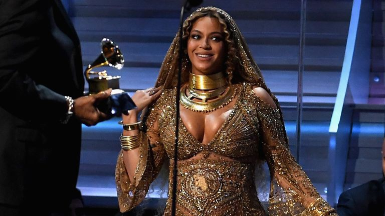 Recording artist Beyonce accepts the award for Best Urban Contemporary Album for 'Lemonade,' onstage during The 59th GRAMMY Awards at STAPLES Center on February 12, 2017 in Los Angeles, California