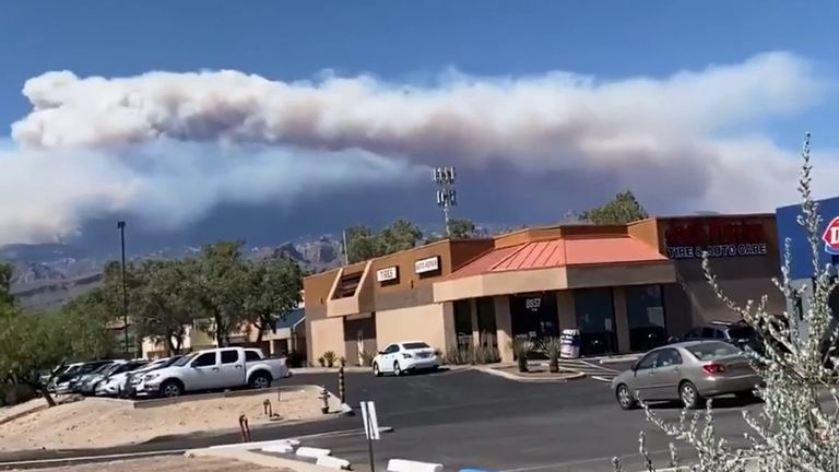 Bighorn fire in Arizona visible from other side of Santa Catalina Mountains