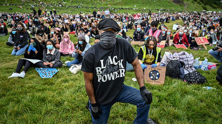 Large numbers also turned out in Edinburgh's Holyrood Park