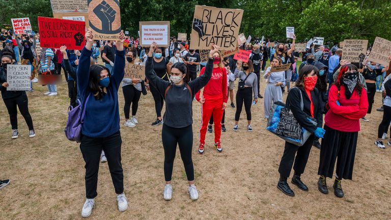Protesters respond to the the death of George Floyd, in Minneapolis last week, by gathering in Hyde Park as part of a day of action against discrimination. Pic: Guy Bell/Shutterstock