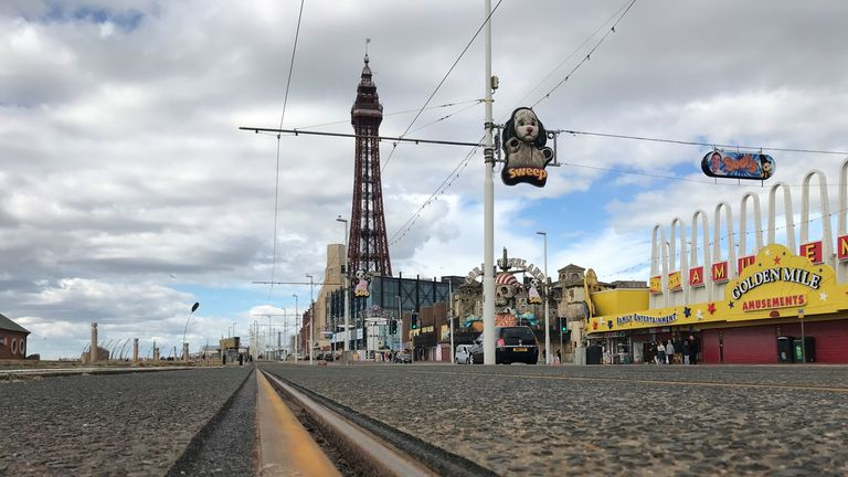 The tram tracks on Blackpool's Golden Mile have rusted during lockdown