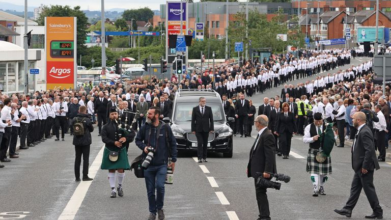 A large crowd gathered for Bobby Storey's funeral procession