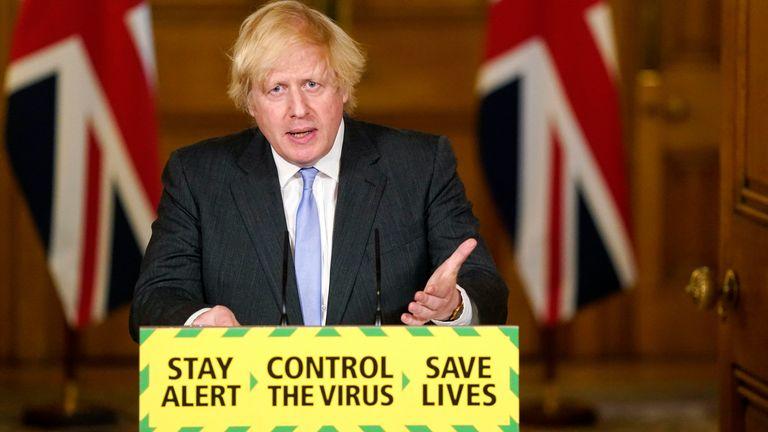 Boris Johnson at the final daily coronavirus briefing in Downing Street