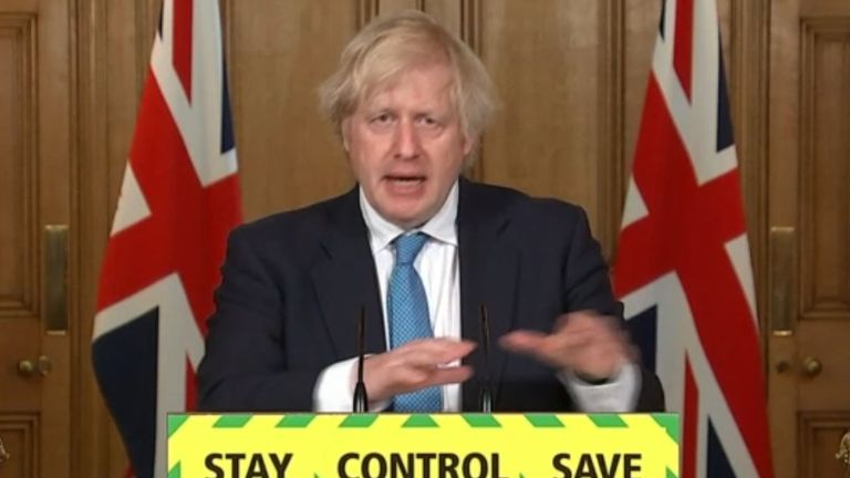 Screen grab of Prime Minister Boris Johnson during a media briefing in Downing Street, London, on coronavirus (COVID-19)