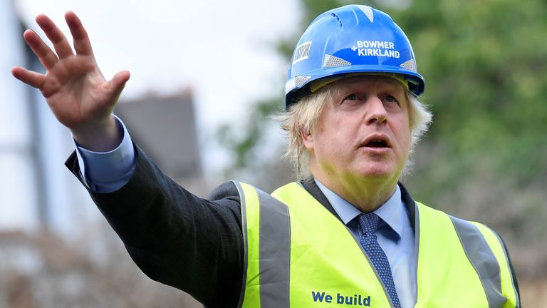 Prime Minister Boris Johnson visits the construction site of Ealing Fields High School in west London.
