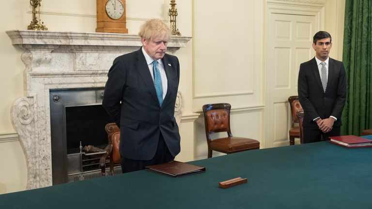 Boris Johnson and Rishi Sunak attended the meeting with Alok Sharma on Tuesday