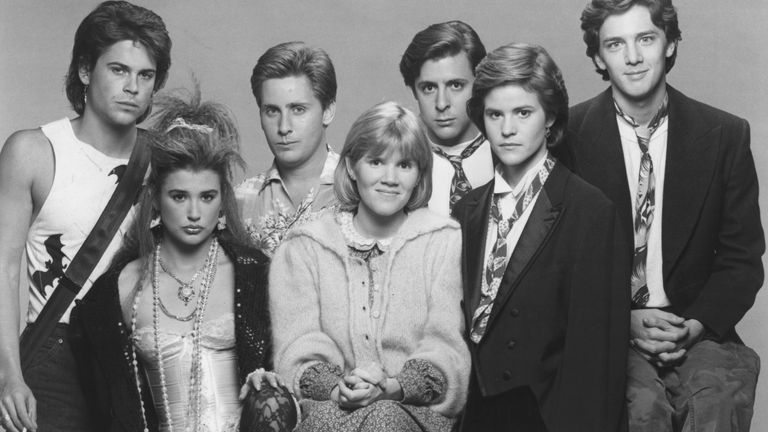 St Elmo's Fire starred 'Brat Pack' actors including Rob Lowe, far left, Demi Moore, second left, Emilio Estevez, third left, and Ally Sheedy, second from right