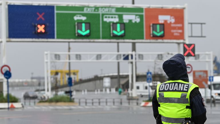 A custom officer stands during a day of test in case of Brexit at the terminal Ferry in Calais, northern France on September 24, 2019