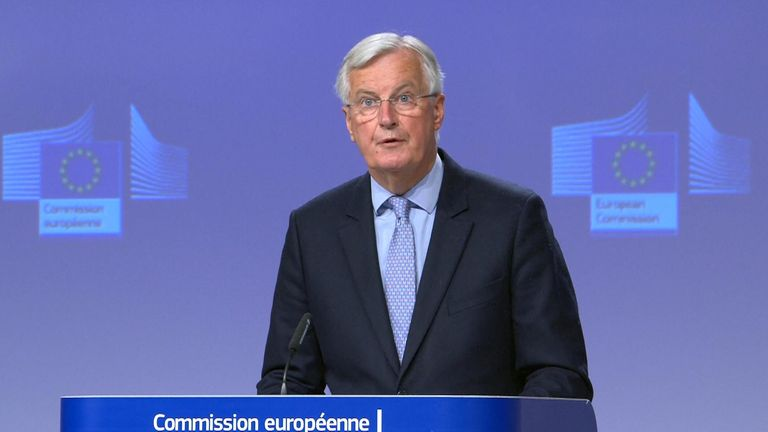 Michel Barnier talking at the EU Comission