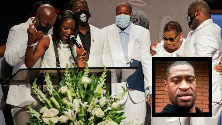 Brooke Williams, niece of George Floyd, speaks with the rest of the family, during the funeral for George Floyd at The Fountain of Praise Church on June 9, 2020 in Houston, Texas. Floyd died after being restrained by Minneapolis Police officers on May 25, sparking global protests