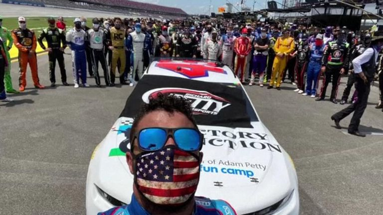 Bubba Wallace posted an selfie surrounded by his fellow NASCAR drivers