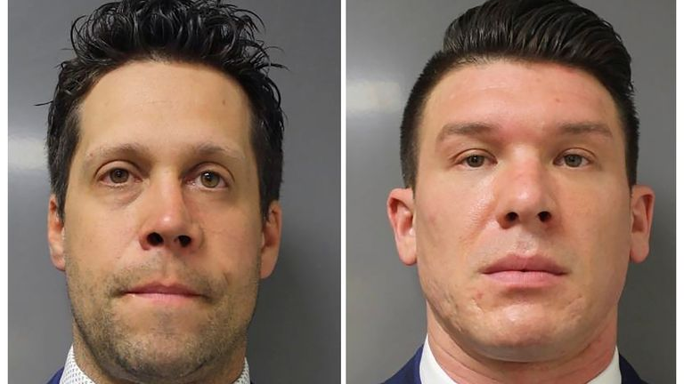 Buffalo Police officers Aaron Torgalski, 39, (L) and Robert McCabe, 32, who were arraigned on felony assault charges