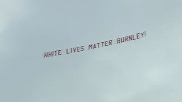 'White Lives Matter' banner flown over Man City match