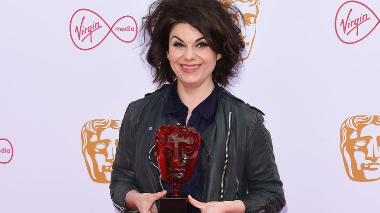 Caitlin Moran is a spokesperson for the Virgin Media Must-See Moment Award, here at the Virgin Media British Academy Television Awards 2019 at The Royal Festival Hall on May 12, 2019 in London, England