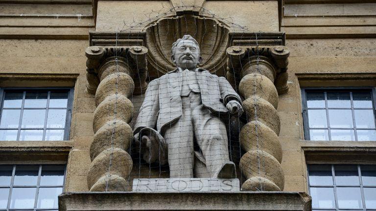 Statue of Cecil Rhodes at  Oxford University's Oriel College