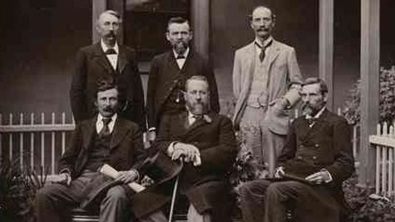 Charles Cameron Kingston, sitting centre, in around 1896. Pic: Slate Library of South Australia