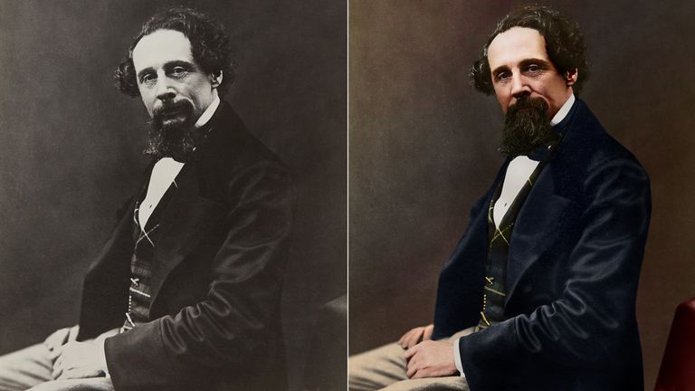 Undated handout photo issued by the Charles Dickens Museum showing the first of eight black-and-white images to have been colourised, showing a 47-year-old Dickens with tanned skin and an ostentatious waistcoat, textured navy jacket and a bow tie. Picture by Charles Dickens Museum/Oliver Clyde