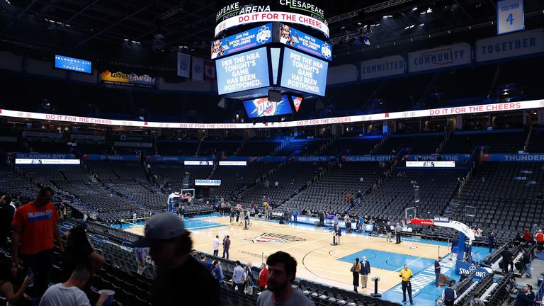 Mar 11, 2020; Oklahoma City, Oklahoma, USA; Fans leave the game between the Utah Jazz and Oklahoma City Thunder following the postponement of the game just before tip off at Chesapeake Energy Arena.