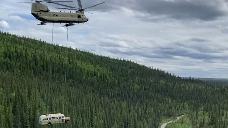 Bus made famous by book and film is removed from Alaska national park on safety grounds