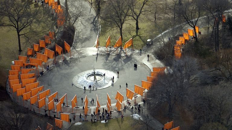"Aerial view of artists Christo and Jeanne-Claude's ""The Gates"" project for Central Park in New York"