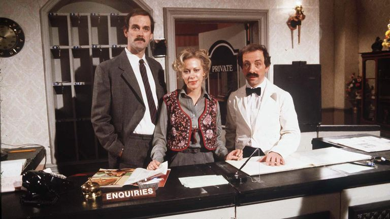 1979 tv programme series Fawlty Towers John Cleese actor comedian Connie Booth actress Andrew Sachs