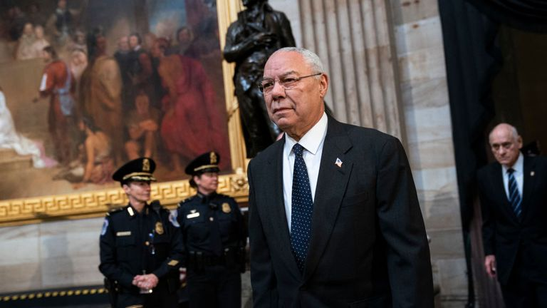 WASHINGTON, DC - DECEMBER 4: Former Chairman of the Joint Chiefs of Staff and former Secretary of State Colin Powell arrives to pay his respects at the casket of the late former President George H.W. Bush as he lies in state at the U.S. Capitol, December 4, 2018 in Washington, DC. A WWII combat veteran, Bush served as a member of Congress from Texas, ambassador to the United Nations, director of the CIA, vice president and 41st president of the United States. Bush will lie in state in the U.S. C