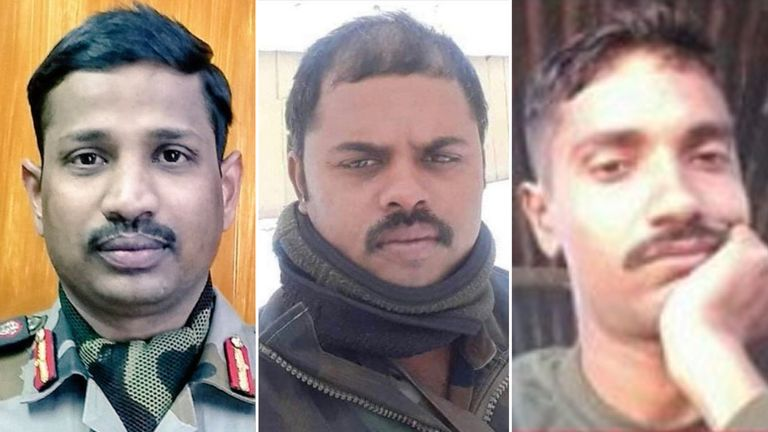 (L-R): B Santosh Babu, Havildar Palani, and Sepoy Ojha died at the border