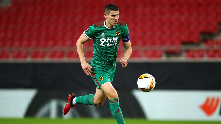 Conor Coady of Wolverhampton in action during the UEFA Europa League