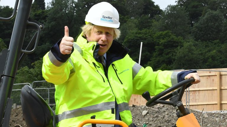 "Prime Minister Boris Johnson during a visit to the Speller Metcalfe's building site at The Dudley Institute of Technology. Mr Johnson is expected to announce a multi-billion pound ""new deal"" for infrastructure projects to help stimulate the nation's recovery from the coronavirus pandemic."