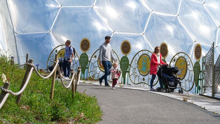 A limited number of visitors return to The Eden Project in Cornwall, England
