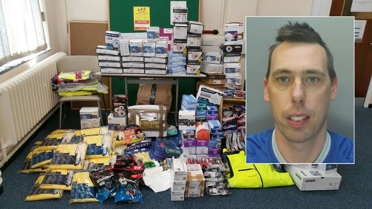 Gary Edwards stole a large amount of PPE from his employer to sell on eBay. Pics: Merseyside Police