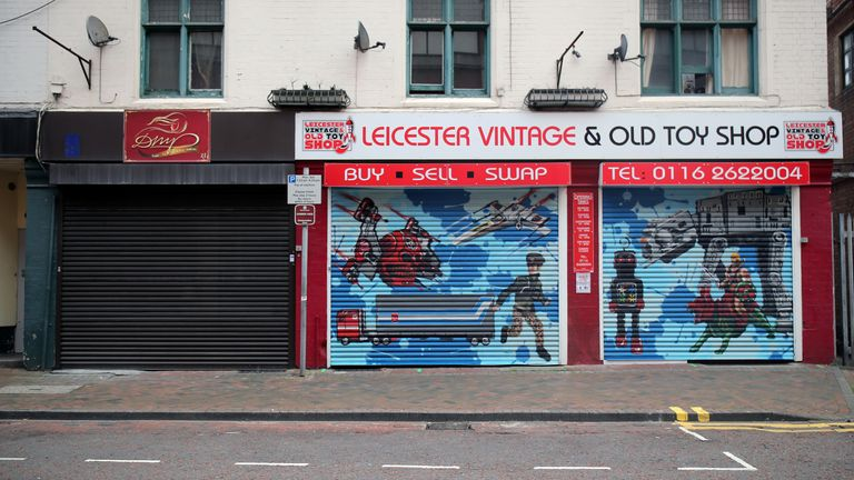Closed shops are seen, following the coronavirus disease (COVID-19) outbreak, in Leicester, Britain, June 30, 2020. REUTERS/Molly Darlington