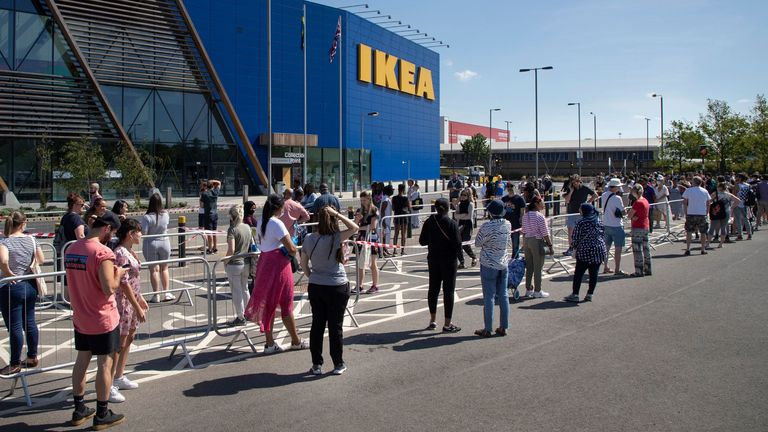 A large queue outside the Greenwich branch of Ikea. Pic: George Cracknell Wright/LNP/Shutterstock
