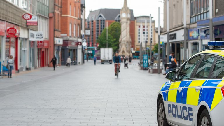 A police car in the centre of Leicester after the Health Secretary Matt Hancock imposed a local lockdown following a spike in coronavirus cases in the city.