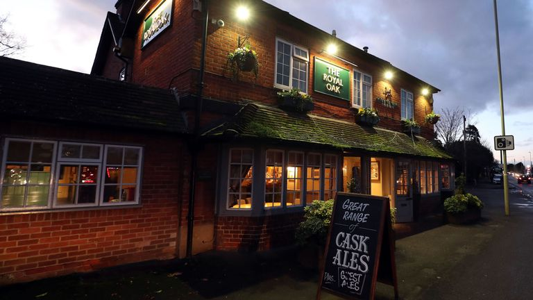 The Royal Oak pub, in Yateley, Hampshire  18/1/2018